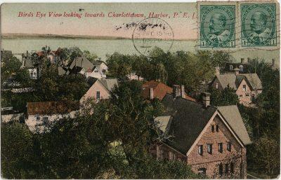 , Bird's Eye View looking towards Charlottetown, Harbor, P.E.I. (2913), PEI Postcards