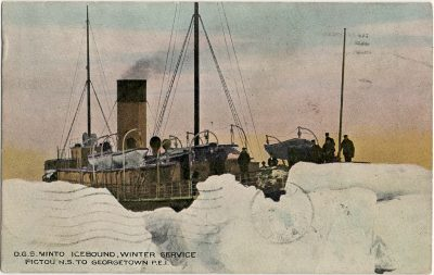 , D.G.S. Minto Icebound, Winter Service Pictou N.S. to Georgetown P.E.I. (2918), PEI Postcards