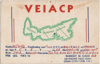 , QSL Card VE1ACP (2928), PEI Postcards