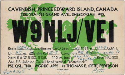 , QSL Card W9NLJ/VE1 (2930), PEI Postcards