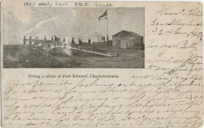 , Firing a salute at Fort Edward, Charlottetown. Printed at the Prince Edward Island Magazine     Office. (2931), PEI Postcards