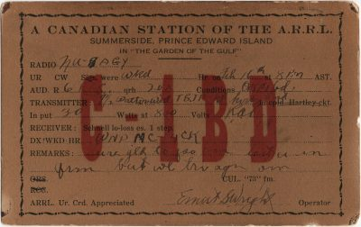 , QSL card C1BD (3001), PEI Postcards