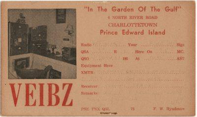 , QSL Card VE1BZ (3002), PEI Postcards