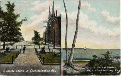 , A Street Scene in Charlottetown, P.E.I. / Victoria Park & Harbor, near Charlottetown, P.E.I. (2998), PEI Postcards