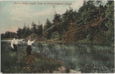 , Not so easely caught, Scene in Prince Edward Island. (3052), PEI Postcards
