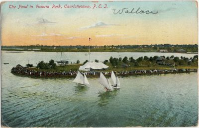 , The Pond in Victoria Park, Charlottetown, P.E.I. {actually an image of Belleville, ON} (3045), PEI Postcards