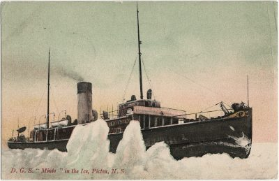 """, D.G.S. """"Minto"""" in the Ice, Pictou, N.S. (3048), PEI Postcards"""