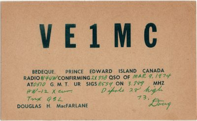 , QSL Card VE1MC (3153), PEI Postcards