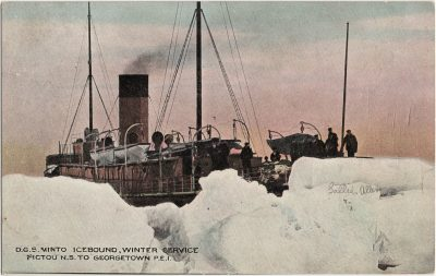 , D.G.S. Minto, Icebound, Winter Service, Pictou N.S. to Georgetown P.E.I. (3110), PEI Postcards
