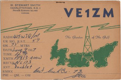 , QSL Card VE1ZM (3111), PEI Postcards