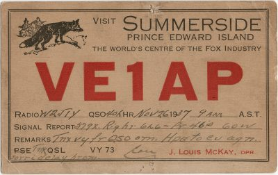 , QSL Card VE1AP (3172), PEI Postcards
