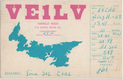 , QSL Card VE1LV (3169), PEI Postcards