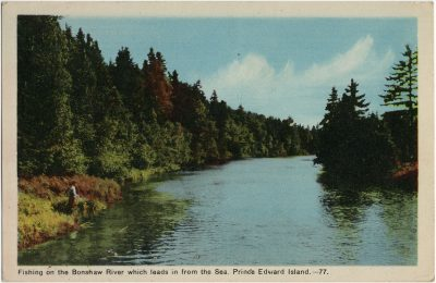 , Fishing on the Bonshaw River which leads in from the Sea, Prince Edward Island. (3176), PEI Postcards
