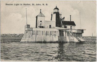 , Beacon Light in Harbor, St. John, N.B. (3195), PEI Postcards