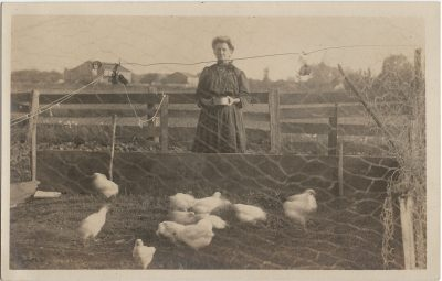 , RPPC, likely of Florence Haslam at Stone Cottage, Springfield, PEI (3232), PEI Postcards