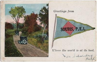 , Greetings from Souris, P.E.I. Where the world is at its best on Saturday nite. (3263), PEI Postcards