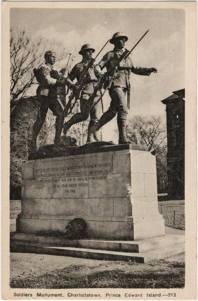 , Soldiers Monument, Charlottetown, Prince Edward Island. (3257), PEI Postcards