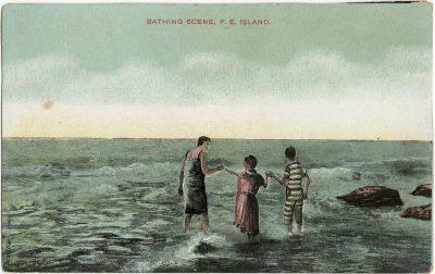 , Bathing Scene, P.E. Island (3249), PEI Postcards