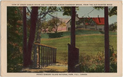 , View of Green Gables House and Footbridge across Cavendish Brook, from the Old Haunted Wood.     Prince Edward Island National Park, P.E.I., Canada. (3248), PEI Postcards