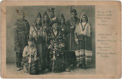 , Group of 4 Chiefs with their wives and children. John Sark PEI. Mathew Frances Pictou. Joe Julia     Truro. Medicine Man Pictou. (3279), PEI Postcards